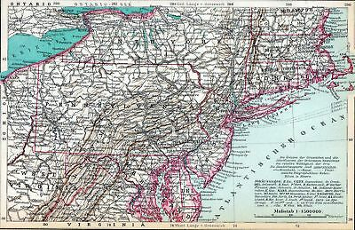 Antique map Northern Atlantic States USA Pennsylvania