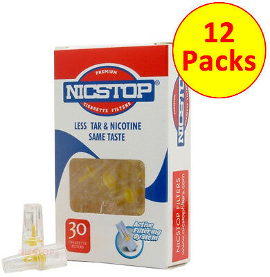 NICSTOP Cigarette Filters Tips 12 Packs (360 Filters) Tar Nicotine Filters