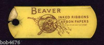 Antique Bakelite Keychain Tab BEAVER Inked Ribbons Carbon Paper Parisian Chicago