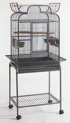 Open Play Top Wrought Iron Bird Small Parrot Cage W/Removable Rolling Stand -938