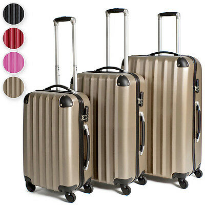 Set of 3 piece travel luggage wheel trolleys suitcase bag hard shell