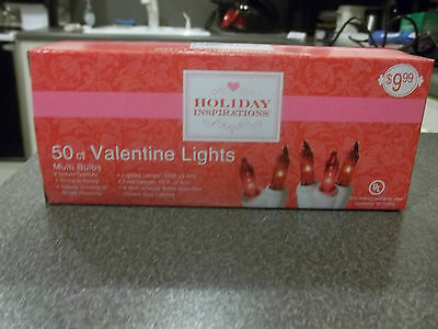 Holiday Inspirations 50 Ct Pink/Red Valentine Lights NEW!!!