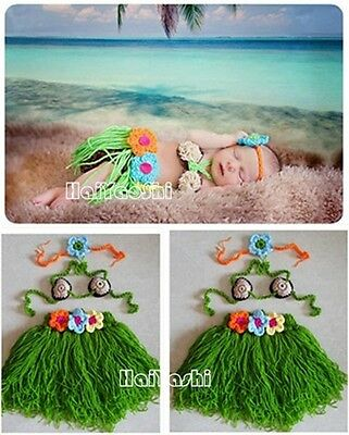 Cute Folwer Grass Skirt Baby Gril Costume Crochet Outfits Photo Props B