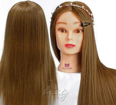 "26"" Real Human Hair Head Mannequin Practice Hairdressing Training Free Clamp"