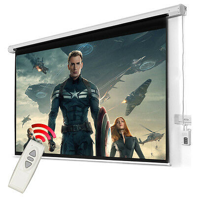 100'' 4:3 Electric Motorized Projector Screen Cinema Home HD TV Matt White