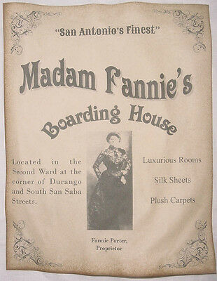 Madam Fannie's Boarding House Ad Poster, Brothel, old west, Porter, wanted