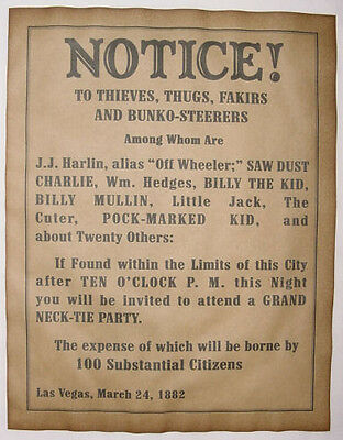 Necktie Party Warning Notice Poster, old west, western, wanted