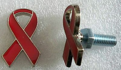 Heart Disease Awareness, red ribbon license plate bolts,plated silvertone