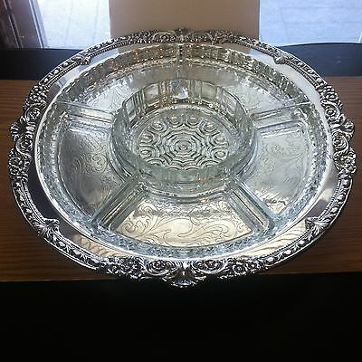 """Antique 17 4/8"""" Sheridan Silverplated Lazy Susan with 6 Glass Dishes"""
