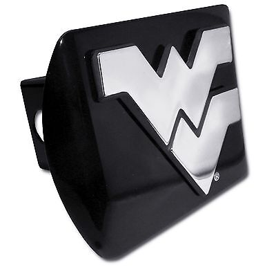 """West Virginia Mountaineers Chrome Metal Black Hitch Cover (""""WV"""") NCAA Licensed"""
