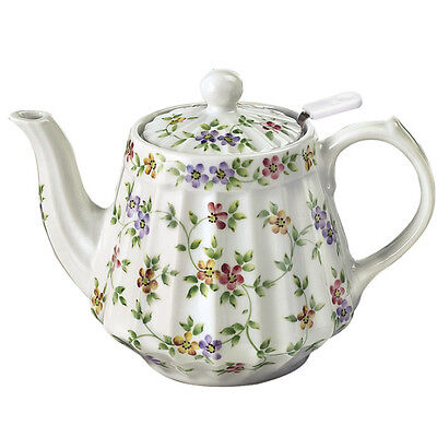 Andrea by Sadek-Garden Bouquet Flowers Fluted Teapot with Mesh Tea Strainer