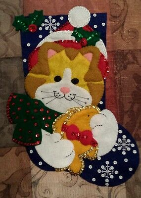 "Finished Bucilla Christmas Stocking "" Cat 13""  - Handstitched"