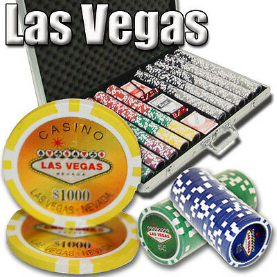 New 1000 Las Vegas 14g Clay Poker Chips Set with Aluminum Case - Pick Chips!