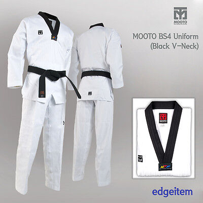MOOTO BS4 Uniform with Black V-Neck Tae Kwon Do TKD Taekwondo WTF Dobok