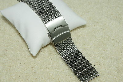 Shark Mesh Stainless Steel 317L Watch Strap 18mm 20mm 22mm 24mm Bars + Tool