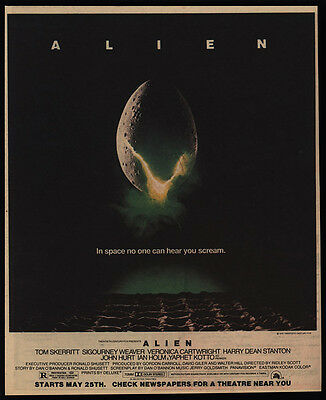 1979 ALIEN Theater Movie Release - SIGOURNEY WEAVER - VINTAGE ADVERTISEMENT