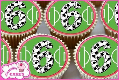 24 x 9TH HAPPY BIRTHDAY FOOTBALL EDIBLE CUPCAKE TOPPERS CAKE RICE PAPER 8501