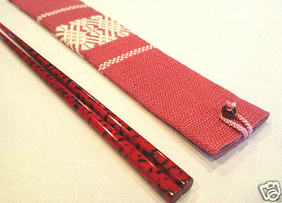 Japanese lacquer Chopstick and Cotton Case handmade in Japan for Special Gift