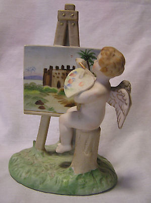 Occupied Japan (Angel Painting With Heart Shape Pallet) Bisque Figurine