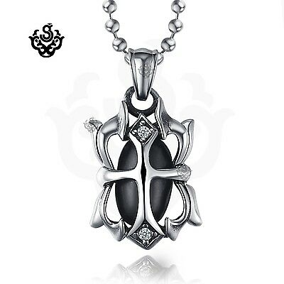 Silver cross black swarovski crystal stainless steel pendant necklace gothic new