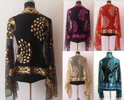 Hot!!! New Chinese Lady Women Beaded Sequin Shawl/Scarf Wraps Peacock&Flower