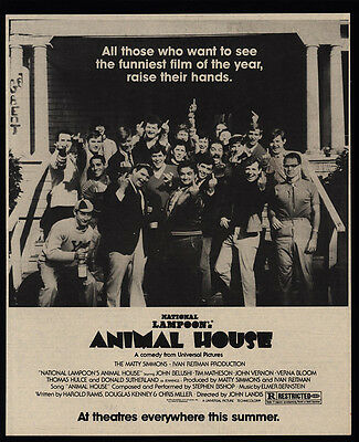 1978 ANIMAL HOUSE Theater Movie Release - JOHN BELUSHI - VINTAGE ADVERTISEMENT