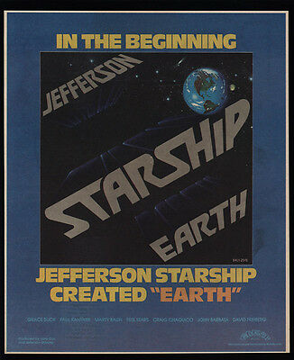 1978 JEFFERSON STARSHIP - EARTH Album Release - VINTAGE MAGAZINE ADVERTISEMENT