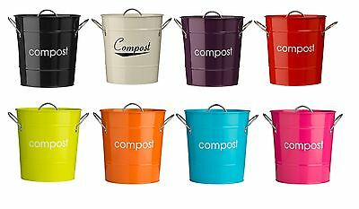 Compost Bins Garden Kitchen Bucket Bin Caddy Waste Rubbish Galvanised Steel Bins