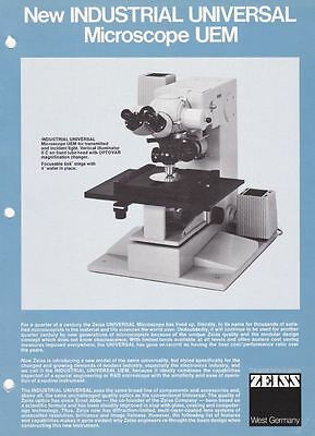 Zeiss Industrial Universal Microscope UEM Brochure and Price List on CD L0194
