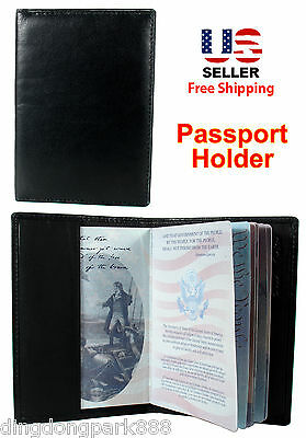 New Black Leather USA Passport Cover Holder Wallet Travel Case