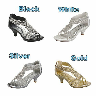 Girls Heels Shoes Flower Girl Dress Shoes Pageant Party Wedding Rhinestone Shoe