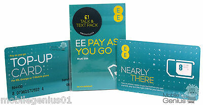 EE Pay As You Go SIM Nano/Micro/Standard for PAYG 4G £1 Talk & Text Pack