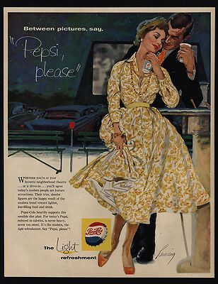 1958 PEPSI Cola - Couple At A Drive In Movie Art - VINTAGE AD