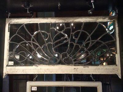 Large Antique Bevelled Clear Glass Transom Window w Sheild 25.25 x 52 #6695