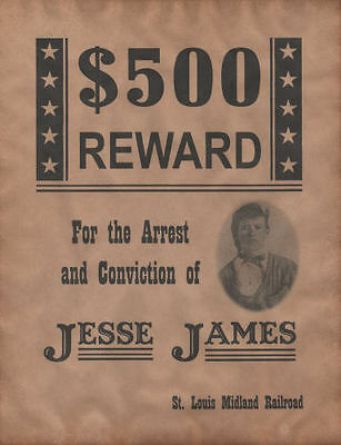 Jesse James Early Wanted Poster, Western, Outlaw, Old West