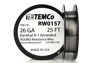 TEMCo Kanthal A1 wire 26 Gauge 25 Ft Resistance AWG A-1 ga