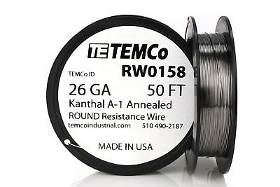TEMCo Kanthal A1 wire 26 Gauge 50 Ft Resistance AWG A-1 ga