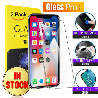 2X Tempered Glass Screen Protector for Apple iPhone 8 7 Plus 6 6S SE 5S X XS XR