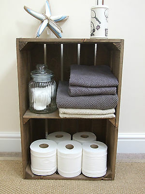 Vintage Style Shabby Chic Wooden Apple Crate Display Shelf, Handmade, Sturdy