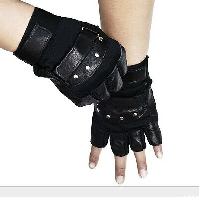 Men's Soft Sheep Leather Driving Motorcycle Biker Fingerless Gloves Pro Outdoor