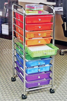 New 10 Multi Color Drawer Metal Rolling Cart Scrapbook Organizer Storage Cabinet