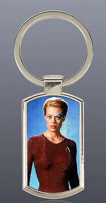 Jeri Ryan 7 of 9 Star Trek Voyager Borg Seven of Nine Rectangle metal keyring D1