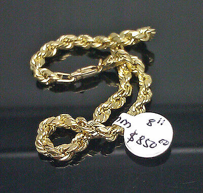 10K Yellow Gold Men's Thick Rope Bracelet 8 Inches Long 4mm #A2B7