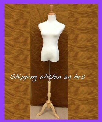 Female Dress Jersey Form Mannequin Cotton Cover Wooden Stand