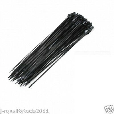 "15"" Made In Usa Industrial Black Wire Cable Zip Uv Nylon Tie Wraps 100 Pack"