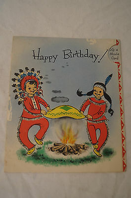 Vintage - Scarce - Unique - Happy Birthday Movie Card - Animated Moving Indian.