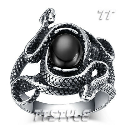 High Quality TTstyle 316 Stainless Steel Double Snake Black Oval Onyx Band Ring