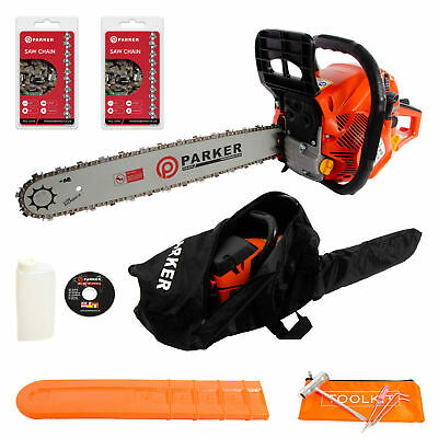 "62cc 20"" Petrol Chainsaw + 2 x Chains + More"
