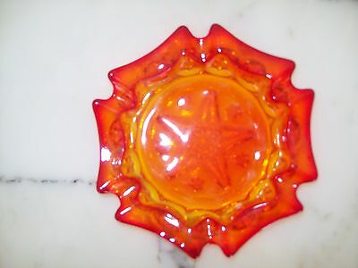 Amberina Moon and Star RARE Ashtray made by L. G. Wright Excellent w/ stars