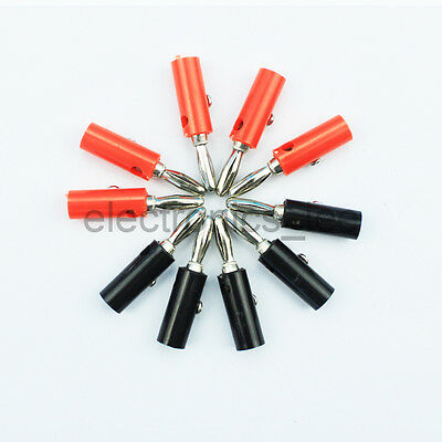 5 pairs 4mm Audio Speaker Banana Plug Jack Connector for Screwing Speaker cable